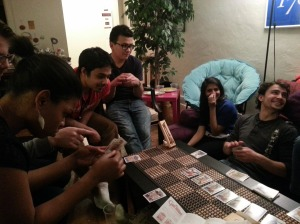 Everyone intently enjoying a game of Guillotine!