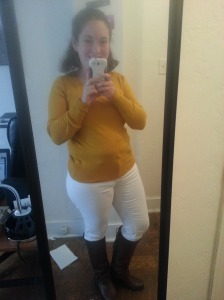 White pants with yellow sweater