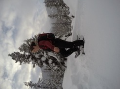 On snowshoes!