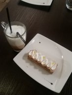 Lemon tart and the best coffee drink ever :-D